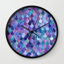 Mermaid Gems, Purple, Pink, Teal, Blue, Green Wall Clock