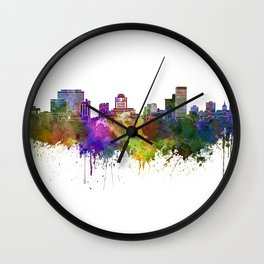 Columbia skyline in watercolor background Wall Clock