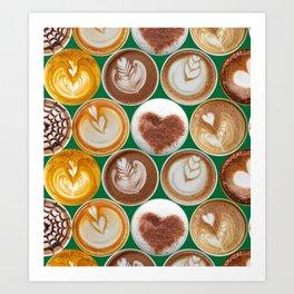 Latte Polka Dots in Winter Green Art Print
