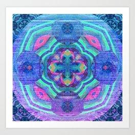 Purple Glow Wood Mandala Art Print