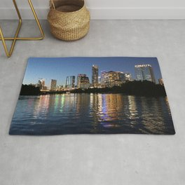Austin, Texas skyline - city lights Rug