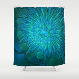 Floral in Sea Colors Shower Curtain