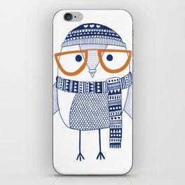 Hipster owl - orange glasses iPhone Skin