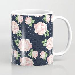 Blue and Pink Vintage Rose Pattern Coffee Mug