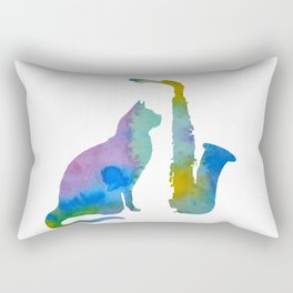 Cat With Saxophone Art Rectangular Pillow