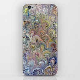 Peacock Water Marbling iPhone Skin