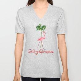 Merry Christmas Pink Flamingo Beach Xmas Unisex V-Neck