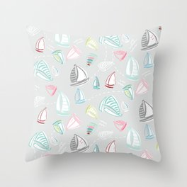 Ditzy Sailboats Pastel on Gray Throw Pillow