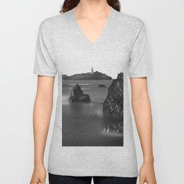 Godrevy Lighthouse, Cornwall, England, United Kingdom Unisex V-Neck