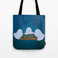 ouija Tote Bags featuring Ouija Board by mangulica illustrations