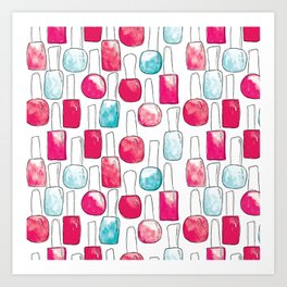 Nail Polish | Duck Egg and Cherry Red Pattern Art Print