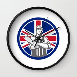 British Butcher Front Union Jack Flag Icon Wall Clock