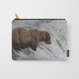 Brown Bear Catching Salmon in Waterfall Carry-All Pouch