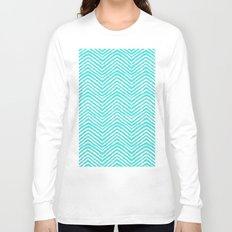 Blue abstract chevron pattern Long Sleeve T-shirt