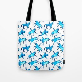 Turquoise Dressage Horse Silhouettes Tote Bag