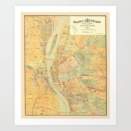 Map Of Budapest 1884 Art Print