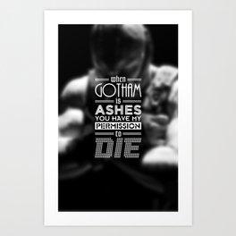 """DARK KNIGHT RISES"" - BANE - Typography Poster Art Print"