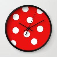 polka dot Wall Clocks featuring Polka dot by Pirmin Nohr