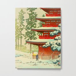 Vintage Japanese Woodblock Print Japanese Shinto Shrine Red Pagoda With Snow Capped Trees Metal Print