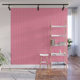 Math Homework Cute Pink Checkered Wall Mural