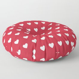 Polka Dot Hearts - red and white Floor Pillow