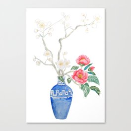 red camellia  flower white plum flower in blue vase Canvas Print