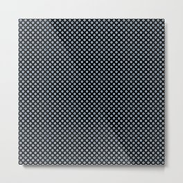 Black and Dusty Blue Polka Dots Metal Print