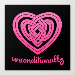 UNCONDITIONALLY in pink on black Canvas Print