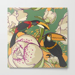 Seamless floral background with peonies bird toucan Metal Print