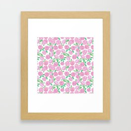 Pale pink roses . Watercolor . Framed Art Print