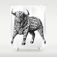 bioworkz Shower Curtains featuring Raging Bull by BIOWORKZ