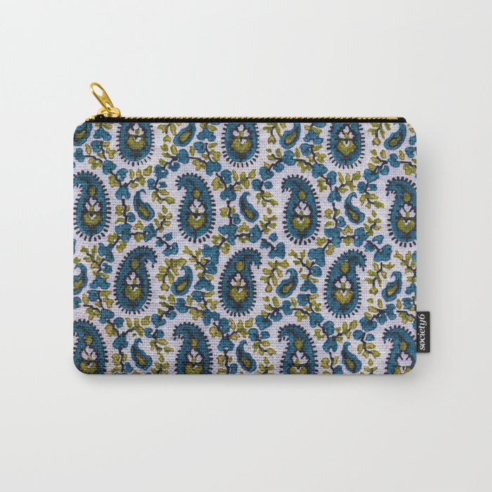 Blockprint Paisley Sage-Blue-White Carry-All Pouch