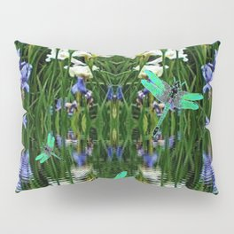 TURQUOISE DRAGONFLIES IRIS WATER REFLECTIONS Pillow Sham