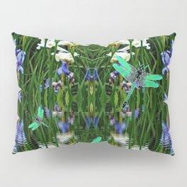 TURQUOISE DRAGONFLIES IRIS WATER REFLECTIONS Pillow Sham