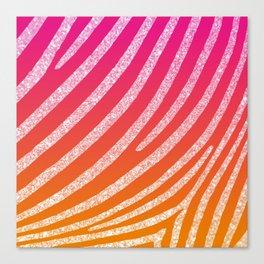 Hot Pink Orange Ombre Glitter Zebra Stripe Canvas Print