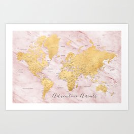 """Adventure awaits, gold and pink marble detailed world map, """"Sherry"""" Art Print"""
