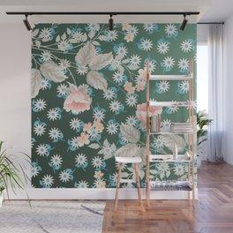 Green Flowers Pattern Wall Mural