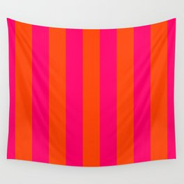 Bright Neon Pink and Orange Vertical Cabana Tent Stripes Wall Tapestry