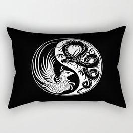 White and Black Dragon Phoenix Yin Yang Rectangular Pillow