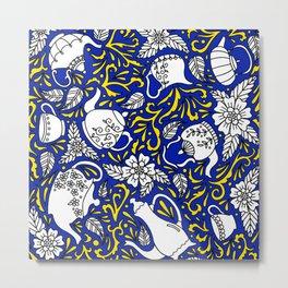 Tea Time Blue and Yellow Metal Print