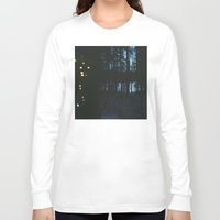 northern lights Long Sleeve T-shirts featuring City Lights/ /Northern Lights by Katie Mae Dickinson