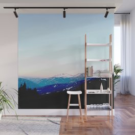 Mountain views abstracted to color blocks Wall Mural