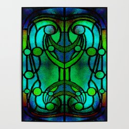 Green and Aqua Art Nouveau Stained Glass Art Poster