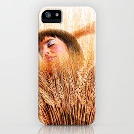 Woman In Wheat Field iPhone Case