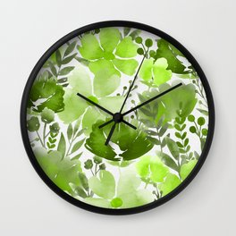 Watercolour background with variety of flowers IV Wall Clock