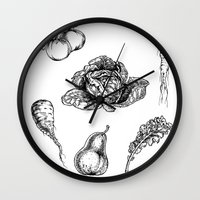 vegetables Wall Clocks featuring VEGETABLES by Johan Olander
