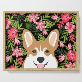 Corgi Hawaiian Tropical Flowers Print Summer palm print tropical hibiscus design Serving Tray