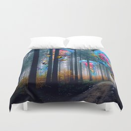 Forest of Super Electric Jellyfish Worlds Duvet Cover