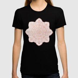 Rose Gold Mandala on White Marble T-shirt