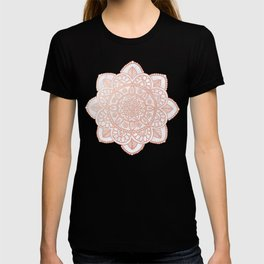Rose Gold Mandala on White Marble T-shirt